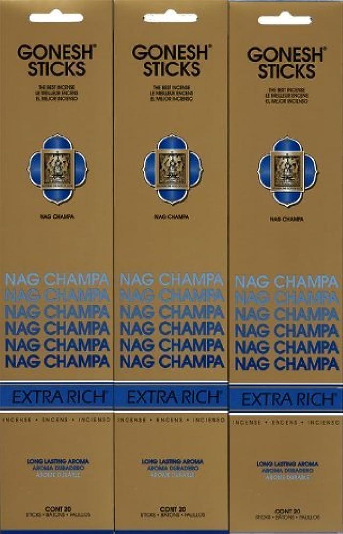 販売員はさみ確保するGONESH NAG CHAMPA ナグチャンパ スティック 20本入り X 3パック (60本)