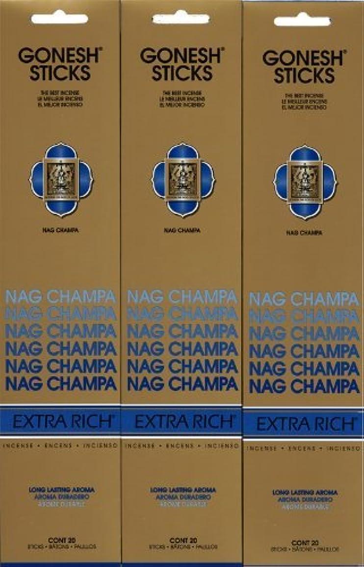 つぶやき乳剤小さなGONESH NAG CHAMPA ナグチャンパ スティック 20本入り X 3パック (60本)