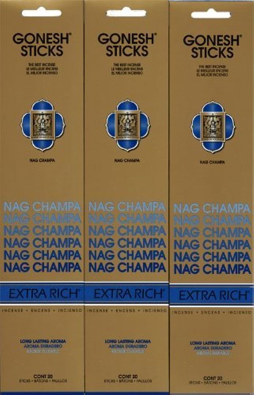 無駄だ平らな禁止GONESH NAG CHAMPA ナグチャンパ スティック 20本入り X 3パック (60本)