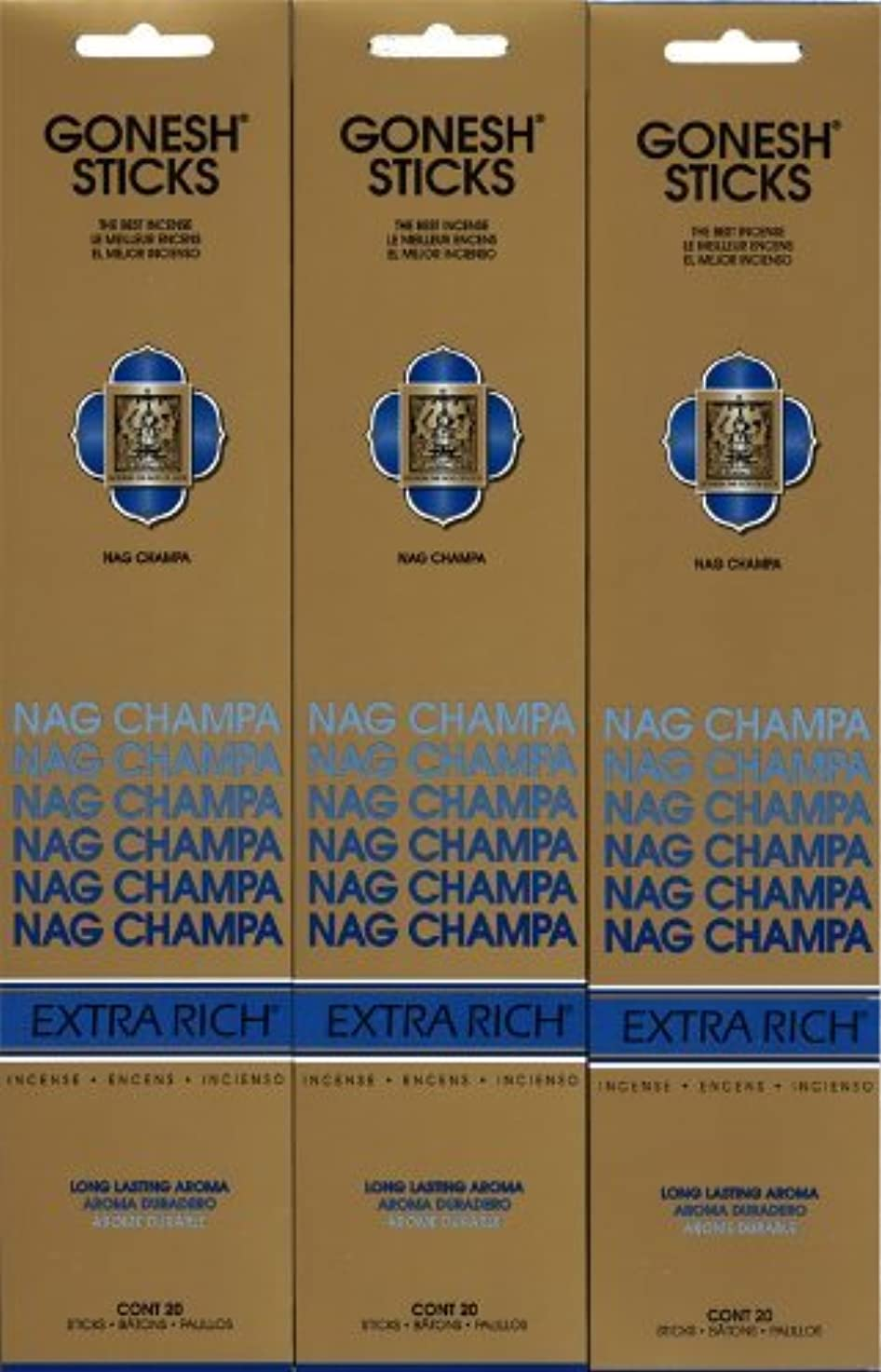 異邦人国家一晩GONESH NAG CHAMPA ナグチャンパ スティック 20本入り X 3パック (60本)