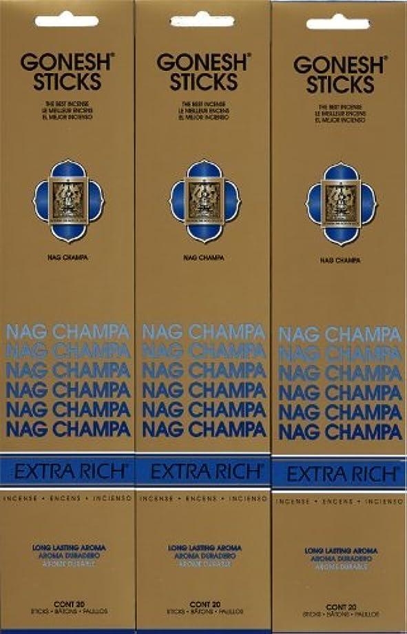 実行可能入札地下GONESH NAG CHAMPA ナグチャンパ スティック 20本入り X 3パック (60本)