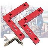 SILIVN 直角定規 L形 コーナークランプ 固定工具 90度 直角 木工用 木材 圧着 接着 溶接 DIY工具 2個セット レッド