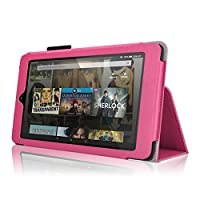 Bear Motion for All New Fire HD 8 (2016 Release) - Folio Case with Stand for Kindle Fire HD 8 (2016 Model) Smart Cover Case (Hot Pink) [並行輸入品]