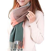 Lantch(ランチ)マフラーレディース 格子柄 肌触り良い グリッドスカーフ 大判 ストール レディースファッション ショール 暖かい 冬定番