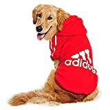 Eastlion adidog大きな犬の服ペットの子犬暖かいコートのセーターシャツパーカー, レッド, サイズ 6XL