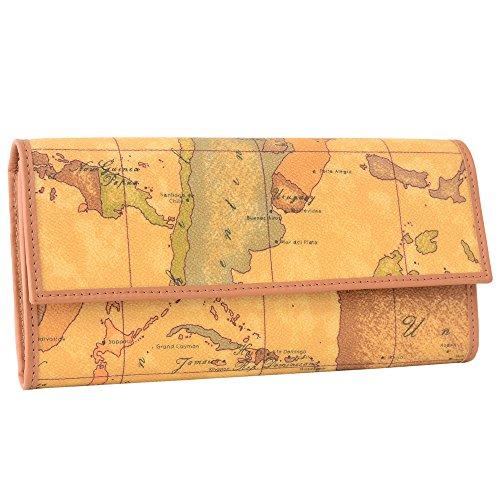 (プリマクラッセ)PRIMA CLASSE プリマクラッセ 長財布 フラップ長財布 二つ折り長財布 小銭入れあり W018 6000 Geo Classic 世界地図柄 マップ柄 ベージュ系 [並行輸入品]