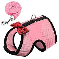 FidgetGear 小動物ハーネスうさぎハーネスとひもモルモットフェレットうさぎ服 ピンク