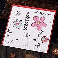 誕生日パーティーのグリーティングカード 多色印刷された中空の花植物のグリーティングカード 祝福メッセージはがきギフトカード 1個/12個/24個/60個 AQ045 (A,60個)