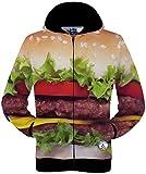 (ピゾフ)Pizoff メンズ パーカー フード付 ハンバーガー柄 おしゃれ おもしろ 男女兼用 お揃い 贈り物 カジュアル ジップアップパーカーY1765-11-L
