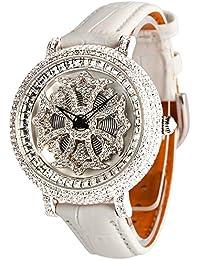 アンコキーヌ ミニクロスシルバーベゼル(本体:ホワイト×ベルト:ホワイト)1106-0101 腕時計 グルグル時計 ぐるぐる時計