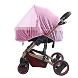 """Baby Stroller Mosquito Bug Net Insect Netting Cover 59"""" Large Size for Pram, Buggy, Infant Carriers, Car Seats, Cradles, Cribs, Bassinets, Playpens, Baby Stroller Bed Full Mesh Cover (Pink)"""