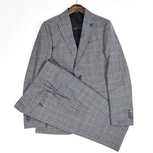 LARDINI (ラルディーニ) スーツ メンズ 春夏 2つボタン シングル ウール 100% グレンチェック ネイビー 紺 L【並行輸入品】