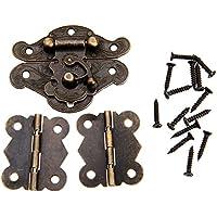 3個入りセット アンティーク調 ボックスバックル(1枚)&蝶番 蝶の形ヒンジ(2枚) ボックスラッチセット 装飾 手芸 手作り パーツ 金具 ネジに付き
