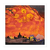 Roerich Saint Sophia Almighty Wisdom Symbolism Painting Square Wooden Framed Wall Art Print Picture 16X16 Inch 聖人ペインティング木材壁画像