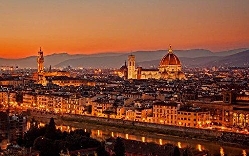 イタリア、フィレンツェ、夕方日没都市 キャンバスの 写真 ポスター 印刷 (90cmx60cm)