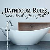 Ochine ウォールステッカー 英字 BATHROOM RULES 剥がせる 生活防水 ウォールペーパー お洒落な壁紙シール トイレ お風呂 洗面所の模様替えに最適 リビング/子供部屋/キッチンにもOK♪