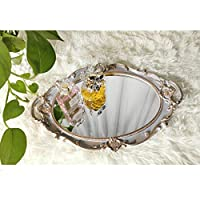 "Yamfurga Polyresin Ellipse Decorative Mirror Tray, French Style, Makeup Organizer, Jewelry Organizer, Serving Tray, 9.8""x 14.6"", Golden Grey"