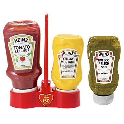 [まとめ買い] ハインツ (Heinz) ケチャップ&マスタード スタンドセット 150周年記念数量限定 + ホットドッグレリッシュ 375ml