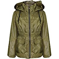 Girls Boys Raincoats Jackets Kids Olive Lightweight Hooded Cagoule Rain Mac 5-13