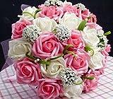 ウェディング ブーケ バラ 造花 ブライダル 結婚式 花束 フラワー 髪飾り セット 選べる カラー ピンク ブルー パープル レッド (ホワイト×ピンク)