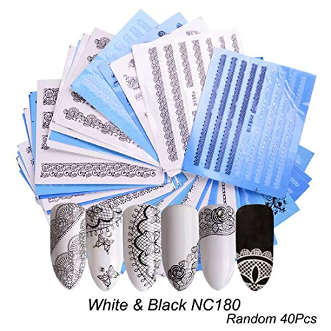 発疹覚醒耐えられない(NC180) 40枚セット黒と白のレースネイルシール ウォーターネイルシール 爪に貼るだけ ネイルデコレーション
