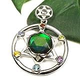 【一点物】アンモライト&6種類の宝石 六芒星 シルバー ペンダントトップ