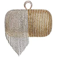フリンジイブニングバッグレディースファッションラインストーンハンドバッグ宴会用イブニングバッグ、長袖ショルダーストラップ付きパーティーと結婚式のためのエレガントなハンドバッグ