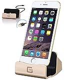 GTIMES JP iphone 充電 卓上スタンド 同期スタンドiPhone 7Plus/7/6/6s/6Plus/6s plus/5s/5c/5,iPad mini対応 usb ケーブル付き 便利な高速充電器置くだけ 金色