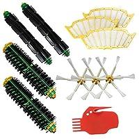 LOVE(TM)2毛ブラシ&2柔軟ビーターブラシ&3サイドブラシ6-武装&3フィルター&クリーニングツールパックFor robotのルンバ500シリーズルンバ510、530、535、540、560、570、580、610真空掃除ロボットのためのメガキット全グリーン、赤、黒のクリーニングヘッド