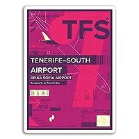 2×10センチメートルTFSテネリフェ南空港ビニールステッカー - スペイン旅行ステッカー#17437(10センチメートルトール)
