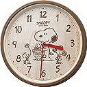 SNOOPY (スヌーピー) 掛け時計 キャラクター アナログ M06 連続秒針 茶 (木目調) リズム時計 8MGA40-M06