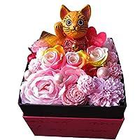 開店祝い 招き猫入り 花 プリザーブドフラワー レインボーローズ入りギフト