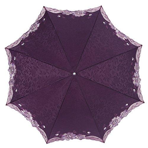 (エスティーエス) STS 日傘 UVカット 遮熱 ファッション 折り畳み 花刺繍 UPF50+ 傘ケース付  高品質 SY13004 Purple