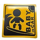 BABY IN CAR 赤ちゃん 乗車中 ( 16cm マグネット ステッカー サーファー )