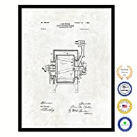 1899 コーヒーローストマシン ビンテージ 特許アートワーク ブラックフレームキャンバスプリント ホームオフィス装飾 コーヒー 恋人 カフェ ティーショップに最適 28インチ x 37インチ
