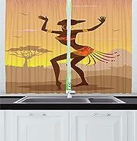 VamJump アフロインテリアキッチン遮光カーテン 昼夜目隠し 洗える 遮像 デコレーション 取り付け簡単、サイケデリックスタイルフィギュア職人イメージの儀式のダンスの人の民族の女性、窓のドレープセットキッチンカフェ、ブラウンココア 2枚組 幅135cm丈160cm