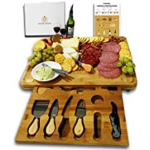 Radiant Royals Unique Housewarming Gifts, Men, Women Birthday, Thanksgiving Gift | Extra Large Cheese Plate Board with Hidden Magnetic Drawer holding Cheese Knives, Markers and Wine Accessories