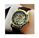 relógio 腕時計 クラシコ ウルトラ スケルトン メンズ フルスケルトン 自動巻き腕時計 機械式 腕時計 メンズ スケルトン 専用 ケース 付き (クラシカル スケルトン ウォッチ ゴールド・ブラック)
