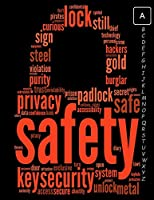 password tracker notebook: Safety Lock Tag Cloud Concept For Security Password Book With Alphabetical Tabs ( Size 8.5 X 11 )