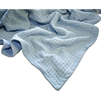 Zoog Organic Cotton Natural Dye Premium Quality GOTS Certified Non-chemical Non-toxic 100% Organic Cotton Soft Knitted 31 x 40 Baby Blue Toddler Blanket (Blue) [並行輸入品]