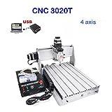 CNC 3020T 4軸 フライス盤 デスクトップ彫刻機 回転軸つき USBポート DIY Desktop Engraving Machine Router