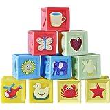 Haibei 積み木 音の出る積み木 柔らかおもちゃ 想像力を育つ知育玩具 お誕生プレゼント 収納ケース付き 入園 出産お祝い
