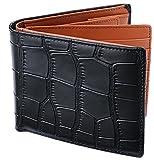 [レガーレ] 二つ折り財布 本革 大容量 カード15枚収納 カラー豊富 (ベロア化粧箱入り) 大容量2つ折り財布 クロコブラック×ブラウン