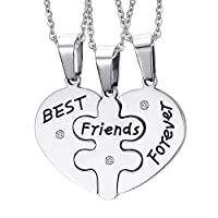 Aenmil Friendship Forever 3パーツGirlfriends Loveネックレス,ステンレス3- in - 1ペンダント個々チェーン