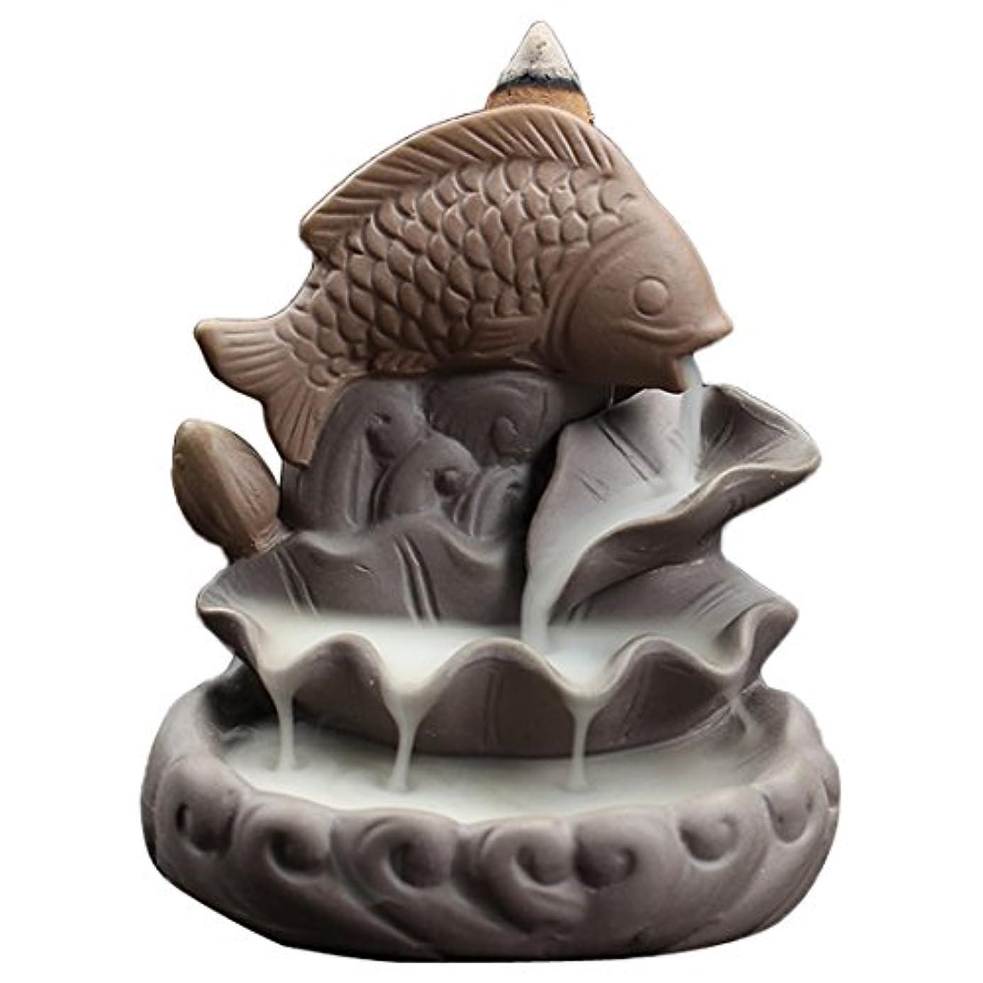 腹床を掃除するそのセラミック魚Backflow Incense Burner、Incense ConesハンディクラフトSticksホルダー、理想的なヨガ部屋、ホーム装飾、ギフト