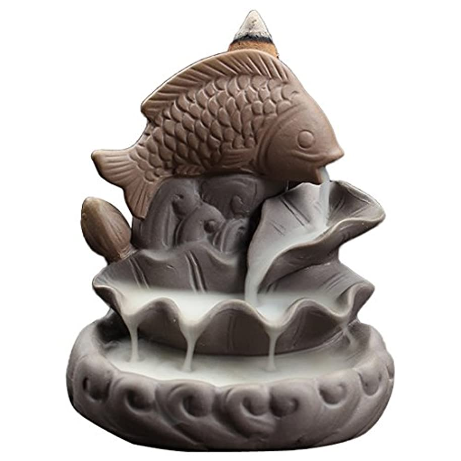 先見の明困った気づくセラミック魚Backflow Incense Burner、Incense ConesハンディクラフトSticksホルダー、理想的なヨガ部屋、ホーム装飾、ギフト