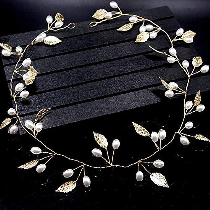 ふさわしい境界人質ZHENGDANG 手作りの金と銀の水晶葉真珠花嫁ヘッドバンド結婚式ヘアアクセサリー真珠葉頭飾りレディースヘアアクセサリー