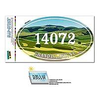 14072 グランドアイランド, NY - 緑緩やかに起伏している丘陵 - 楕円形郵便番号ステッカー