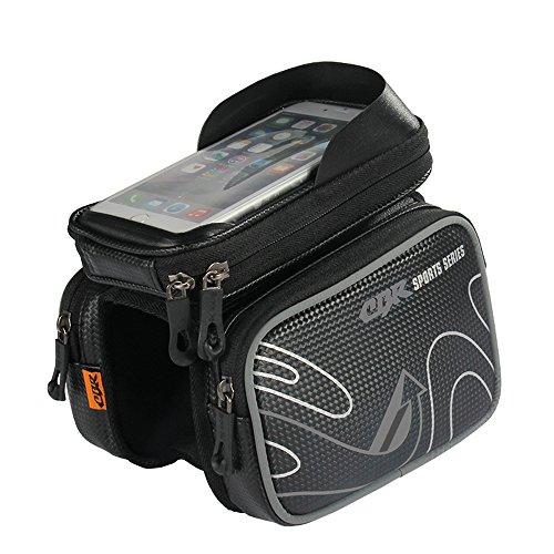 パラディニア(Paladineer)自転車フレームバッグ トップチューブバッグ 分離 大容量 スマホバッグ タッチスクリーン 6.2インチ以下対応 防水防塵 サンバイザー付属 装着簡単 反射テープ サイクリング 4色 収納 グレー