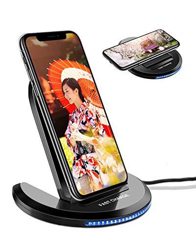 ワイヤレス充電器 ELEGIANT 折りたたみ 急速 10W/7.5W/5W ワイヤレス 充電器 Qi ワイヤレス急速充電器 ワイヤレスチャージャー 急速充電器 2.0/3.0 置くだけ充電 iPhone 8/8+/X/XS/XS MAX/XR Galaxy S10/S9/S8/S7 Nexus 4/5/6 HUAWEIなど他QI機種対応 日本語説明書 黒